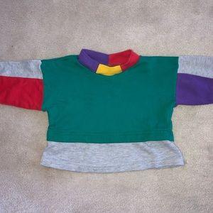 Retro Multi Color Block Long Sleeve Layered Shirt